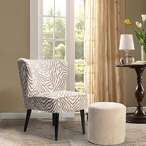 Zebra Upholstered Chair with Ottoman Set for Small Space, Brown and Beige