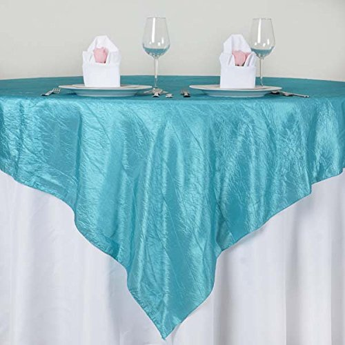 Tableclothsfactory Turquoise Taffeta Crinkle Table Overlay 72