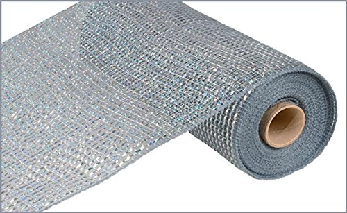- Deluxe Wide Foil Poly Deco Mesh, 10 Inches x 10 Yards (Platinum, Laser Silver Foil)