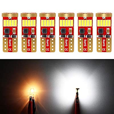 Phinlion 500 Lumens 194 LED Bulb 6000K White Canbus Error Free 168 2825 W5W T10 Wedge 15-SMD 4014 Chipsets LED Replacement Bulbs for Car Dome Map Door Courtesy License Plate Lights, Pack of 6: Automotive