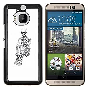 "Be-Star Único Patrón Plástico Duro Fundas Cover Cubre Hard Case Cover Para HTC One M9+ / M9 Plus (Not M9) ( Cráneo Esqueleto Deprimido Blanco Negro"" )"