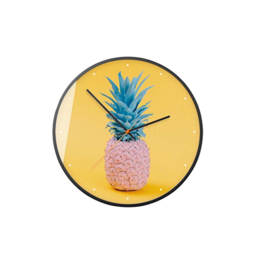 FriendShip Shop Large Decorative Silent Pineapple Wall Clock Non Ticking for Living Room Kitchen Bedroom Round Vintage Decor (Color : B, Size : 12inch)