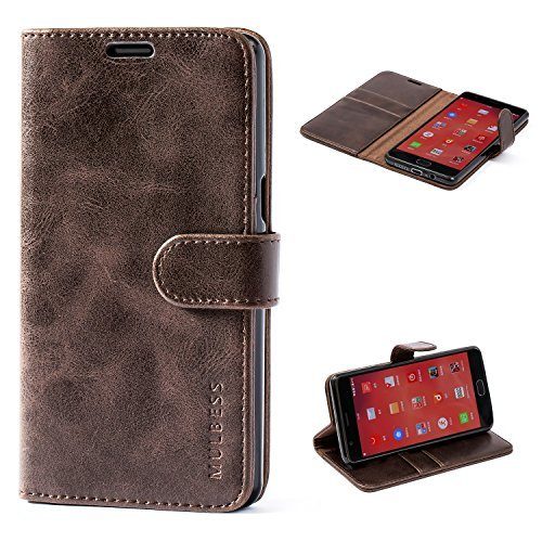 OnePlus 3 / 3T Case,Mulbess Leather Case, Flip Folio Book Case, Money Pouch Wallet Cover with Kick Stand for OnePlus 3 / 3T,Coffee Brown ()