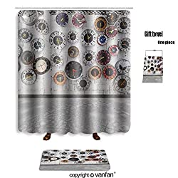 vanfan bath sets with Polyester rugs and shower curtain retro clocks on the wall 83200543 shower curtains sets bathroom 69 x 75 inches&31.5 x 19.7 inches(Free 1 towel and 12 hooks)