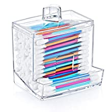 Acrylic Cosmetic Q-tip Cotton Swabs Buds Holder Organizer - Cotton Balls Storage Boxes - Cosmetic Makeup Sticks Box - Workbox Container Exquisite Crystal Clear Transparent - Boxed