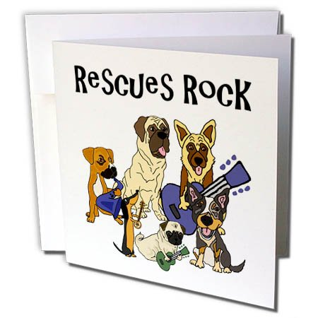(3dRose All Smiles Art Pets - Cool Fun Rescue Dogs Rock with Pug, Mastiff, Dachshund - 12 Greeting Cards with envelopes (gc_260900_2))