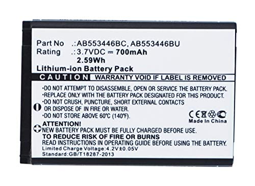 (Synergy Digital Battery Compatible with Samsung Player Mini Cell Phone Battery (Li-Ion, 3.7V, 700 mAh / 2.59Wh) - Repl. Samsung AB553446BC Battery)