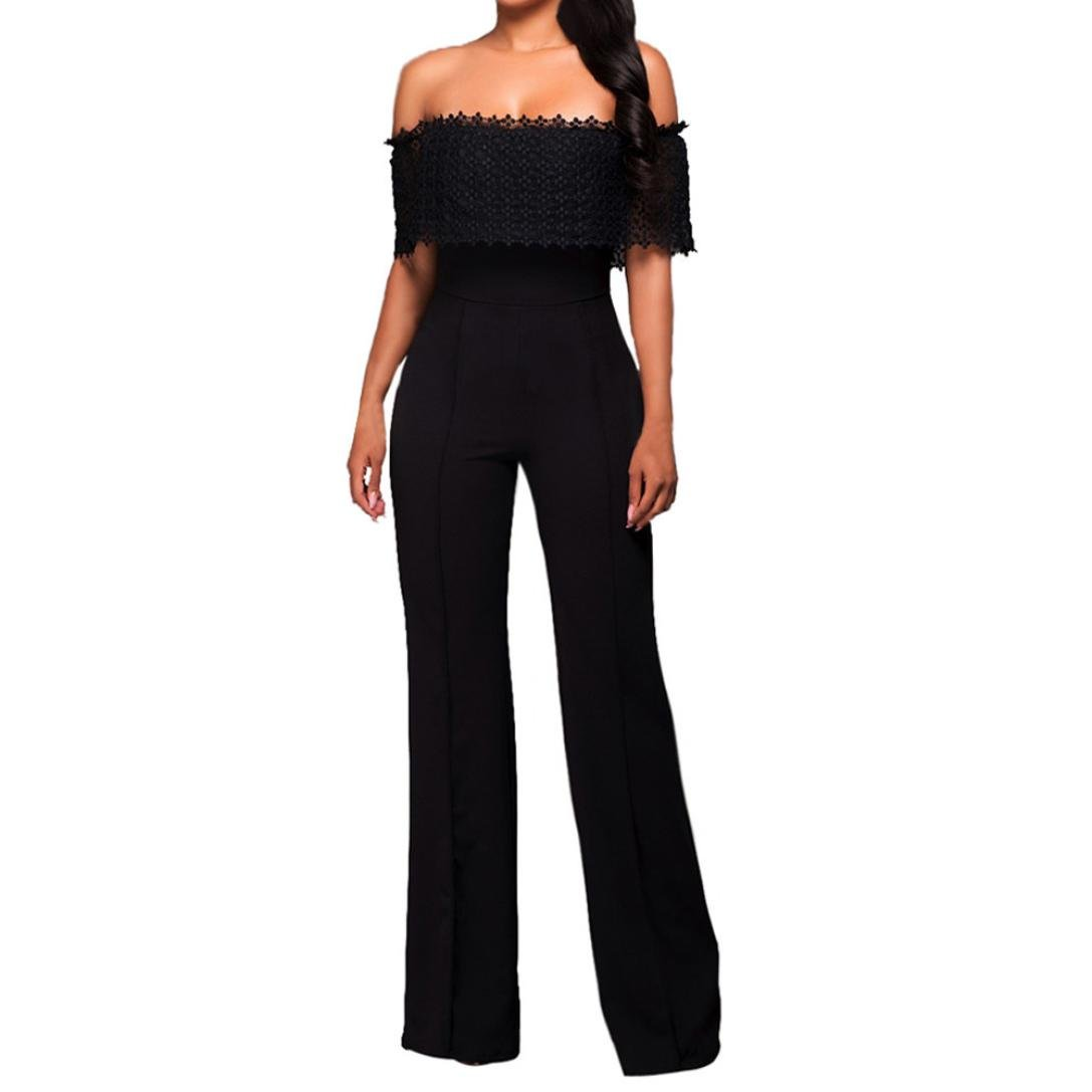 StyleV Hot Sales Women Lace High Waist Off Shoulder Flared Jumpsuits Rompers Ladies Wide Leg Pants