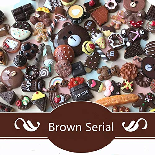 AMOBESTER 50PSC Mixed Food and Cartoon Cabochons Mini Treats Dollhouse Miniature Dark Chocolate Serial