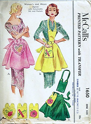 McCalls 1650 Vintage Misses Apron with Detachable Bib and Pockets Sewing Pattern, One size, Embroidery transfers included