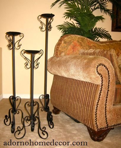 Rustic Farm Home Wrought Iron Floor Candle Holders Set Metal Tall Standing