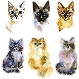 Set of 2 Waterproof Temporary Fake Tattoo Stickers Watercolor Yellow Grey Cat Design