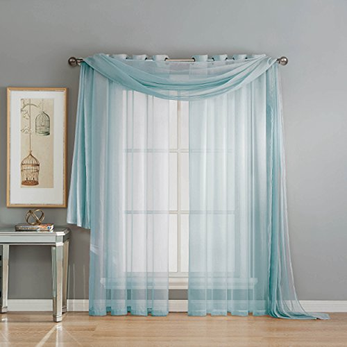 Window Elements Diamond Sheer Voile 56 x 216 in. Curtain Scarf, Light Blue (Window Treatment Ideas)