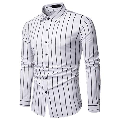 Sunmoot Business Work Men Striped Shirts Long Sleeve Button Down Turn-Down Collar Top Blouse White
