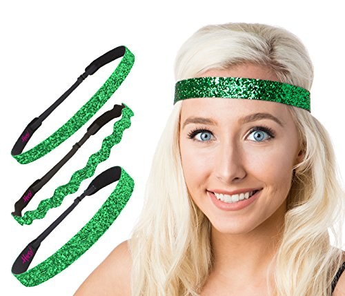 Price comparison product image Hipsy Assorted Irish St. Patrick's Day Green Headband Gift Packs (St Patty's Day Green Glitter 3pk)