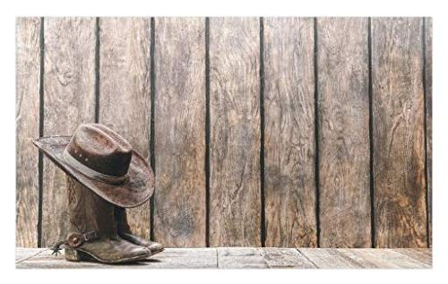 (Lunarable Western Doormat, Wild West Boots in Wooden Room Folkloric Old Fashioned Wild Sports Theme Image, Decorative Polyester Floor Mat with Non-Skid Backing, 30 W X 18 L)