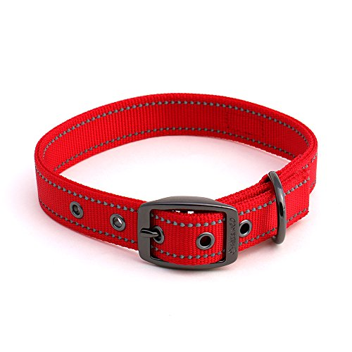 Neo Wide Dog Collar - Max and Neo MAX Reflective Metal Buckle Dog Collar - We Donate a Collar to a Dog Rescue for Every Collar Sold (SMALL, RED)