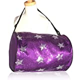1 Perfect Choice Stylish Girls Dance Duffle Bag Gymnastics Cheer Sequin Stars, Purple For Sale