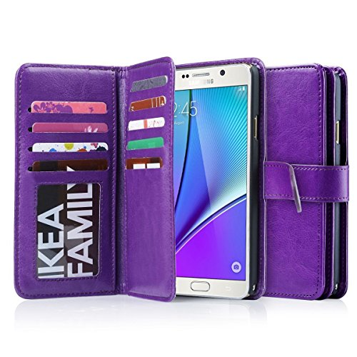 J.west Note 5 Case, Galaxy Note 5 Case, Galaxy Note 5 Wallet Case,Pu Leather Case Magnet Wallet Credit Card Holder Flip Cover Case Built-in 9 Card Slots Flip Case for Samsung Galaxy Note 5 (Purple)