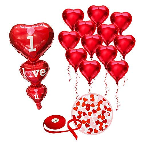 Valentines Day Foil Hearts Balloons - Red - 1 Piece 36-Inch I LOVE YOU Balloon - 12 Pieces 18-Inch Heart Shaped Balloons - With Red String - Straw Included - Creates Romantic Atmosphere Kaba Flair