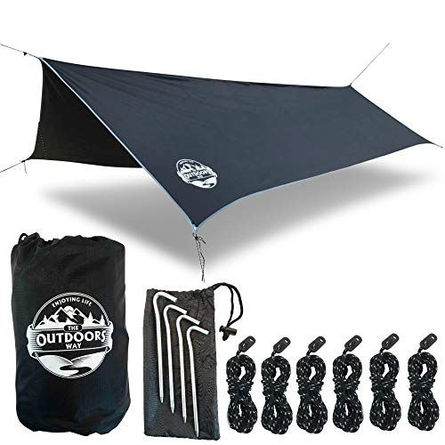 (The Outdoors Way Hammock Tarp- 12 Foot Quality Rain Fly for Extreme Waterproof Protection, Large Canopy is Portable and Provides Ideal Shelter for Your Camping Hammock Or Tent. Performance Delivered!)