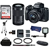 Canon EOS M50 Mirrorless Digital Camera with 15-45mm + 55-200mm Lenses -Black (USA Warranty) Bundle, Includes: 64GB SDXC Class 10 Memory Card + Full Size Tripod + LED Light + Spare Battery + more