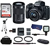 Canon EOS M50 Mirrorless Digital Camera with 15-45mm + 55-200mm Lenses -Black (USA Warranty) Bundle, Includes: 64GB SDXC Class 10 Memory Card + Full Size Tripod + LED Light + Spare Battery + more Review