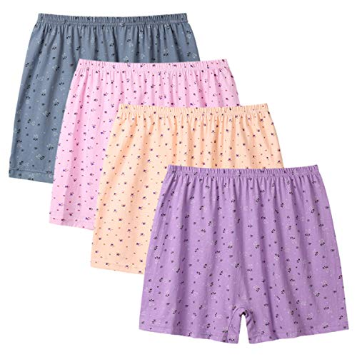 BaiTao Womens Underwear 4 Pack Loose Comfortable Floral Graphic Printed Casual Boy Shorts Panties (XXL=US Size XL, Pink,Yellow,Purple,Grey)