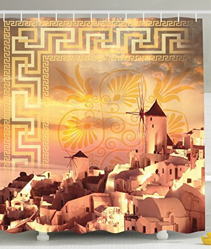 [Mediterranean Tuscany Architecture Decor Collection White Houses and Windmills over the Ocean on Geometric Paisley Pattern Polyester Fabric Bathroom Shower Curtain Set with] (The Pope Costume At The White House)