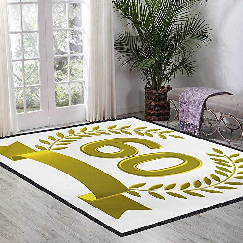 60th Birthday, Area Rugs for Bedroom, Golden Age Themed Party with Roman Empire Theme Branches Artsy Print, Bath Mats for Floors 6x9 Ft Olive Green Yellow