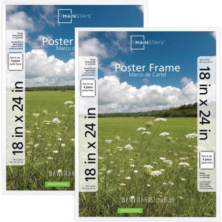 Price comparison product image Mainstays 18x24 Basic Poster & Picture Frame,  White,  Set of 2