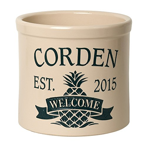 "Whitehall Personalized ""Welcome"" Pineapple Stoneware 2 Gallon Crock (Pineapple Whitehall)"