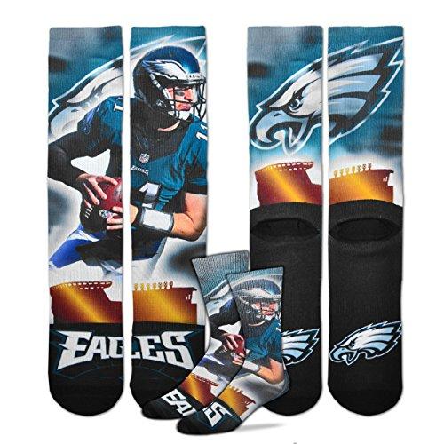 (Philadelphia Eagles City Star Crew Socks Men's Large 10-13 - Carson Wentz)