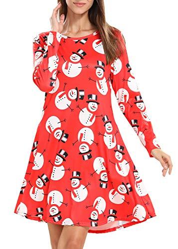 TWKIOUE Women's Christmas Pullover Flared A Line Dress 2XL