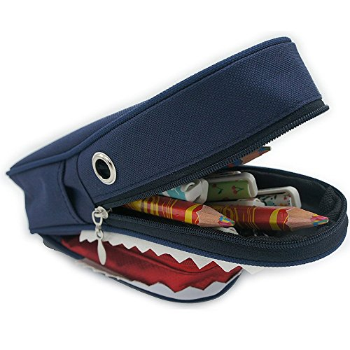 Cute 3D Shark Pencil Case with Combination Lock Cosmetic Mak