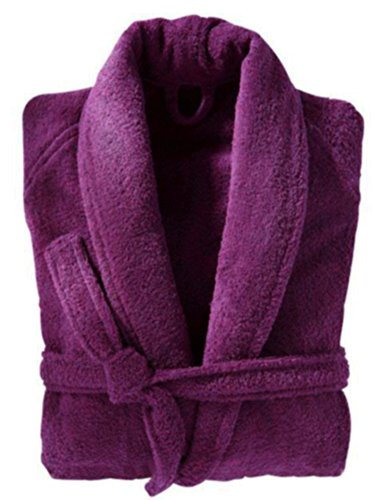 Cotton Terry Velour Shawl (Velour Terry Shawl Robe, Women's & Men's Cotton Shawl Bathrobe, Plush Cover Up (L, Deep Purple))