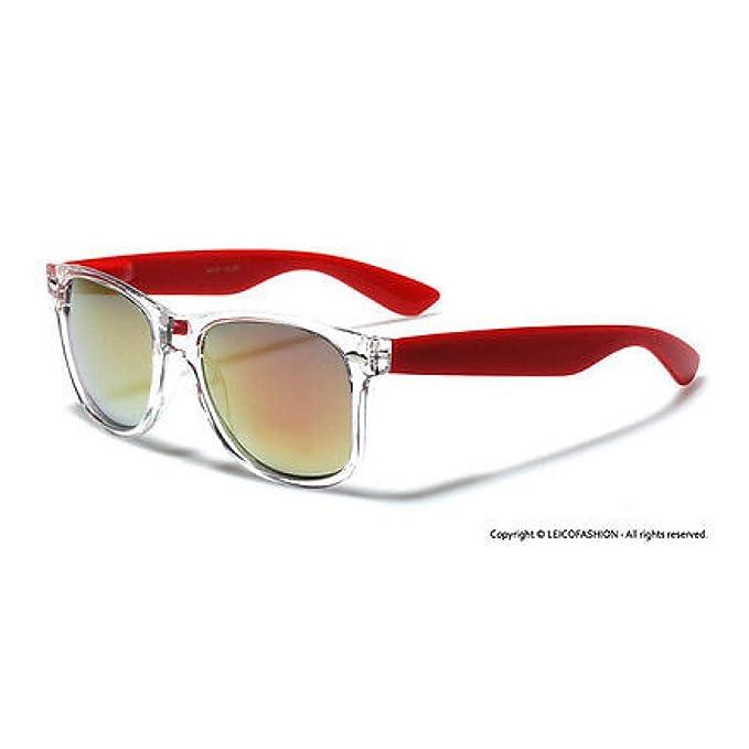Amazon.com: Gafas de sol con marco transparente y espejo ...