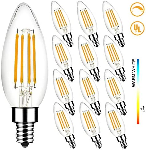 LED Light Bulbs 60W Equivalent, Megaman B10 E12 5W 2700K Dimmable Candelabra Led Bulbs for Ceiling Fan and Chandelier, 500Lumens, CRI85, Pack of 12