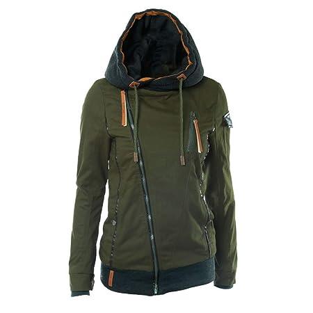 Comcrib Damen Übergangsjacke mit Kapuze aus Baumwolle, Verdicken Winddicht Kapuzenjacke Winter Warme Hoodie Einfabig Zipped S