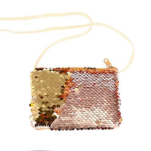 (Women Girls Fashion Double Color Sequins Bag Storage Bag Ladies Purse Pouch)