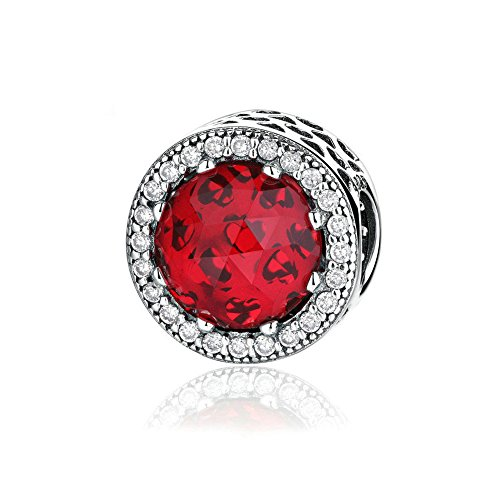 Romántico Amor Radiant Hearts Charm Red Crystals & Clear CZ 925 Sterling Silver Love Charm for Pandora Charms Bracelets