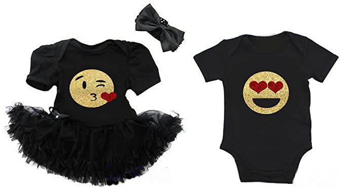 38585ee61 G&G - Cute Emoji Valentine's Matching Baby Boy Girl Twins Siblings Outfits  ...