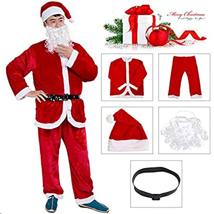 Garne T Santa Suit Christmas Santa Claus Costume for Men Women Adult Costume Santa 10 pc Outfit