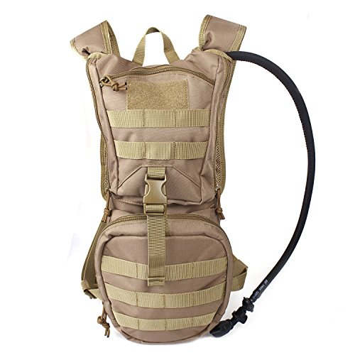 Tactical Hydration Pack Backpack 900D with 2.5L Bladder for Hiking, Biking, Running, Walking and Climbing (TAN)