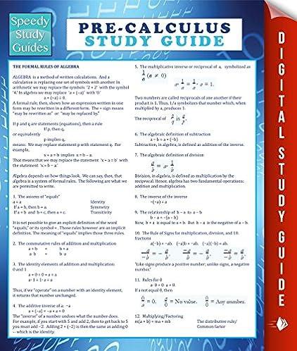 pre calculus study guide speedy study guide speedy publishing rh amazon com Anatomy and Physiology Study Guide Respiratory System Study Guide