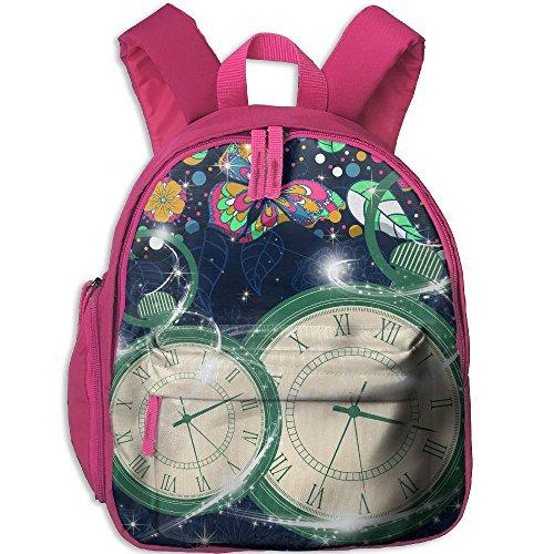 Cool Pink Butterfly Print - Clock &Butterfly Kids School Backpack Cute Cool Print Bookbag For Girls/boys