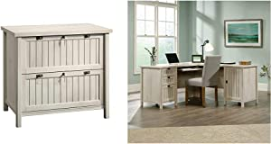 "Sauder Costa Lateral File, Chalked Chestnut Finish & Costa L-Shaped Desk, L: 65.12""; x W: 65.12""; x H: 30.0"", Chalked Chestnut"
