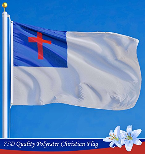 G128 - Christian Flag | 3x5 feet | Printed - Vibrant Colors, Brass Grommets, Quality Polyester