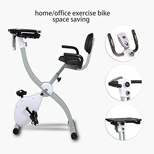 Folding Exercise Bike and Workstation Magnetic Upright Stationary Bike with Pulse,Removable Laptop Holder,Home Gym Indoor Cycling Bike with LCD Monitor, Handbars Adjustable, Max User Weight:265lbs