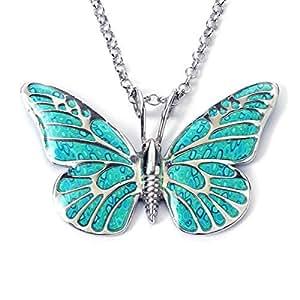 Collar de mariposa turquesa - Joyería inspirada en insectos - Dije millefiori en fimo arcilla polimérica - Colgante romántico para mujer - Regalo único de Navidad